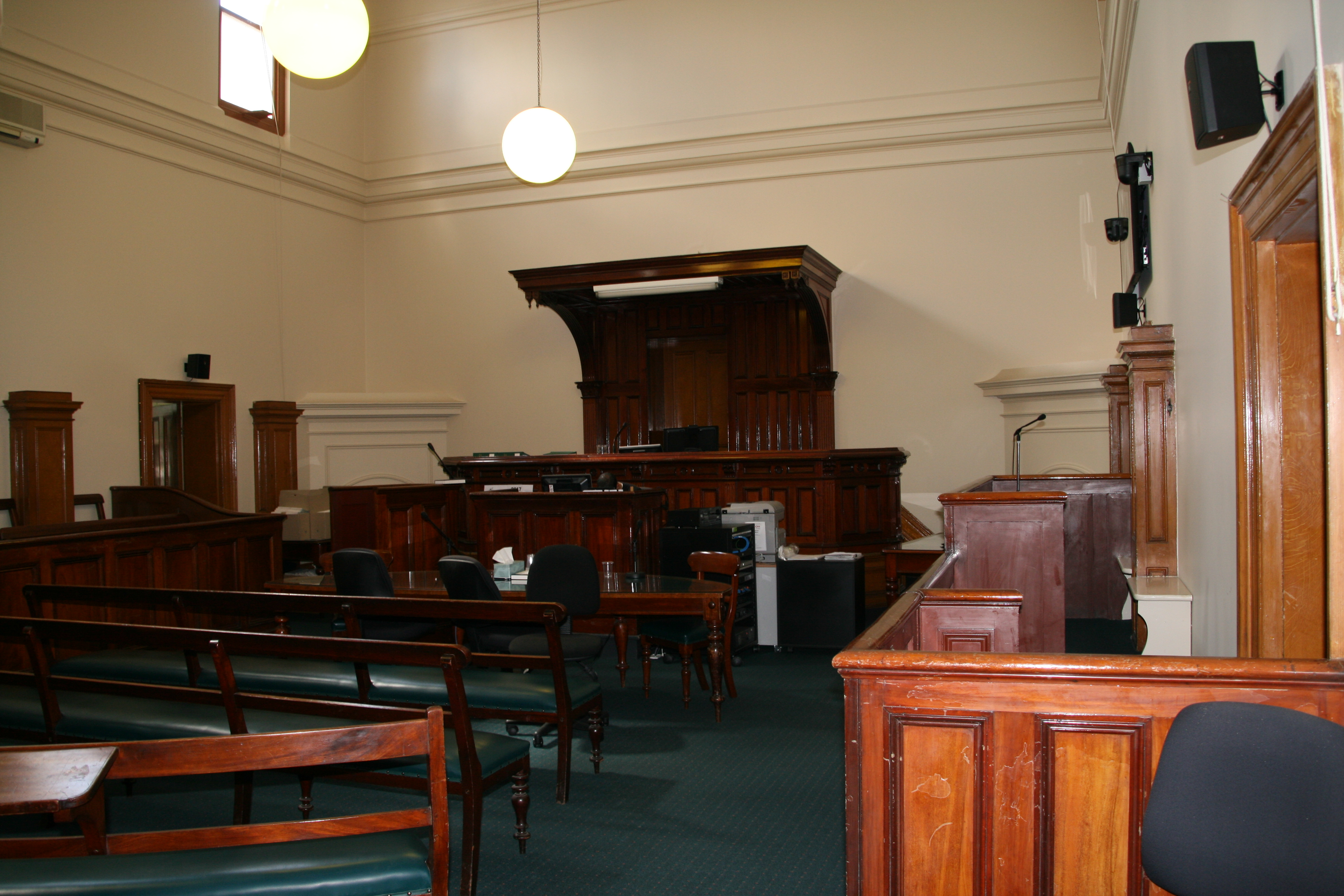 Courtroom inside Castlemaine Magistrates' Court
