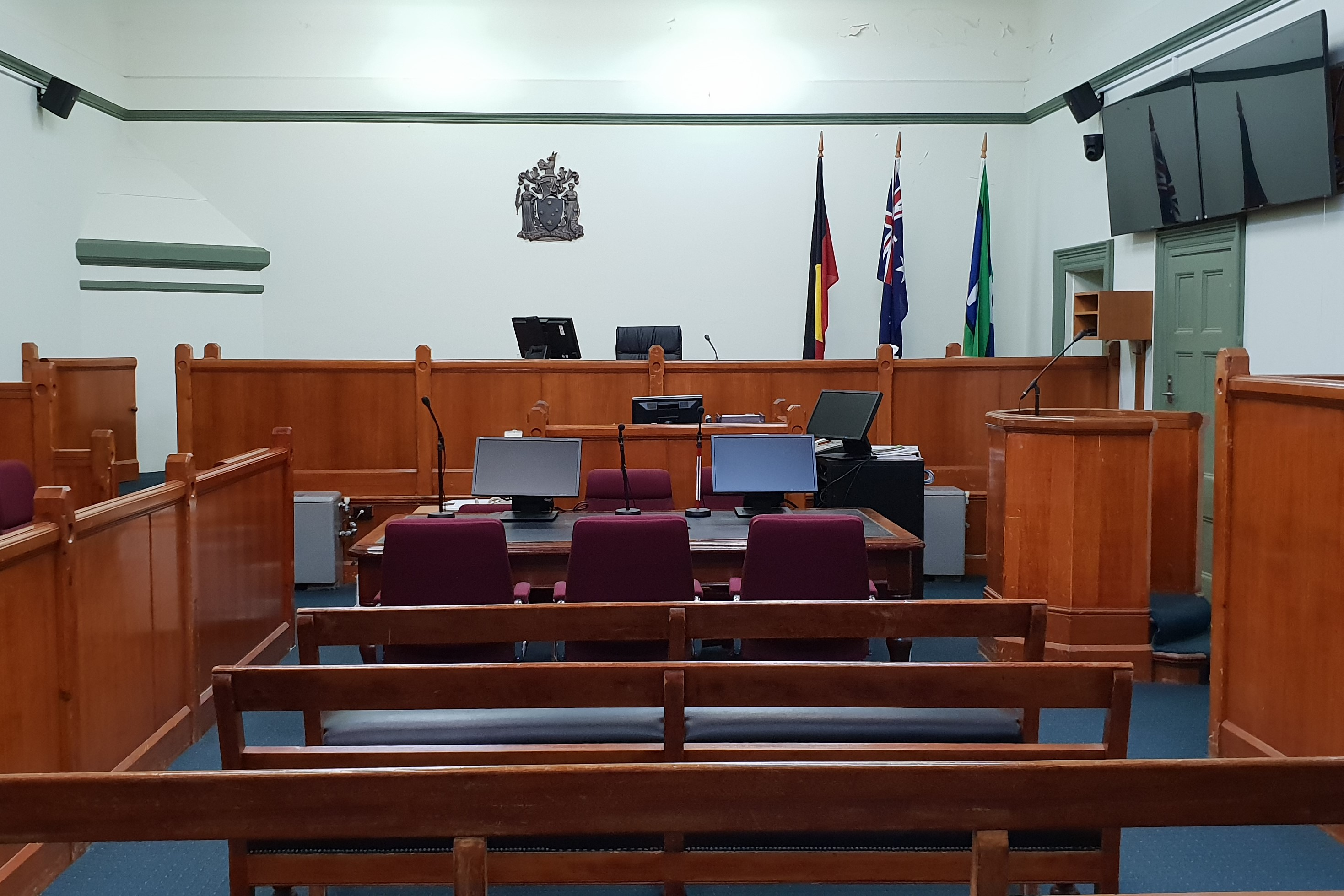 Courtroom inside Hamilton Magistrates' Court